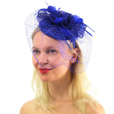 Sassy Netted Veil Sinamay Feathers Fascinators Headband Cocktail Derby Hat