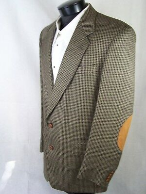 Austin Reed Mens Blazer Olive Houndstooth Elbow Patch Wool 41L