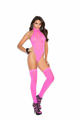 Sexy Neon Pink Opaque and Sheer Teddy with Matching Stockings. EM Lingerie.