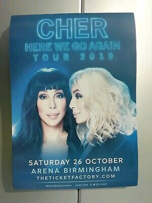 "CHER  ""Here We Go Again"" Tour 2019 A5 concert poster 	Great flyer !!!"