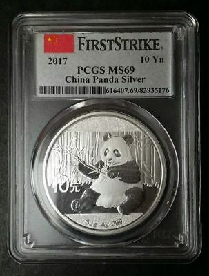 2017 China Silver Panda (30 g) 10 Yuan - PCGS MS69 - First Strike - China Label