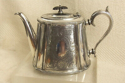 Superb Victorian Britania Plate Silver Plated Teapot with engraved decoration