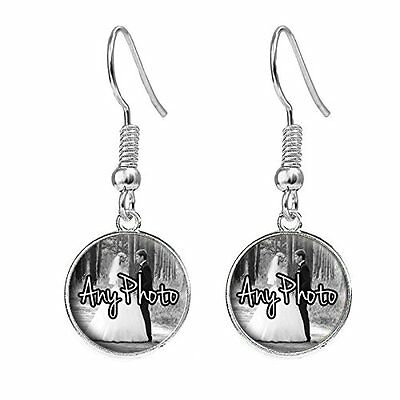 Personalised Any Photo Silver Plated Costume Jewellery Drop Earrings Ideal Gift