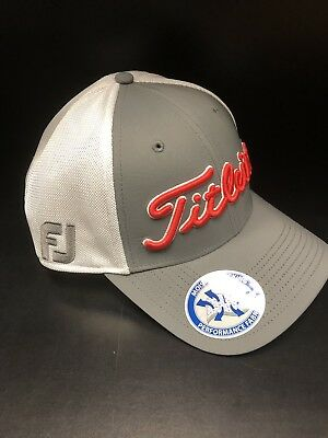 Titleist Tour Sport Mesh Fitted Hat Cap Gray /white *Moisture Wicking Fabric*