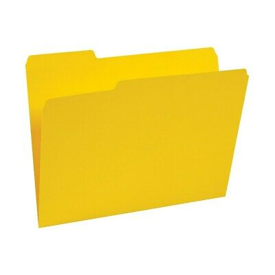 Staples Colored Top-Tab File Folders 3 Tab Yellow Letter Size 100/Pack 224535