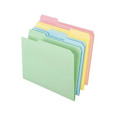Staples Top-Tab File Folders 3-Tab Letter Assorted Pastel Colors 100/BX 459684