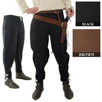 Medieval Trousers With Ankle Lacing - Black or Brown Costume Re-enactment & LARP