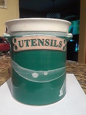 Whitefish, Montana Pottery 2001 Kitchen Untensils Crock Hand Made on the Wheel