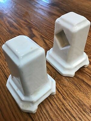 Pair heavy antique porcelain earthenware towel bar holders (set #3)