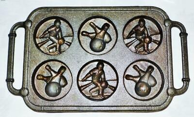 Bowling Players / Balls & Pins Vintage Cast Iron Muffin Pan Nos Dual Handles