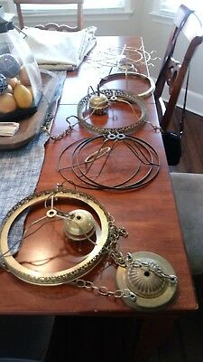 Victorian Brass Hanging Light Ceiling Fixture parts Lamp Lighting Huge lot