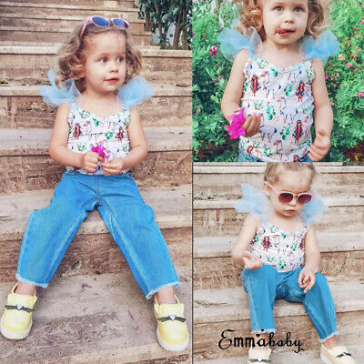 7c1eab08fc263 US Denim Toddler Baby Girl Lace Off Shoulder Crop Top Long Pants Outfits  Clothes