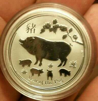 2019 Australia PROOF Lunar Year of the Pig 1/2 oz SIlver 50c half dollar Coin