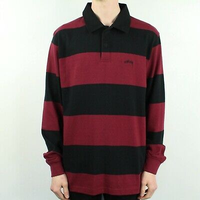 D Stussy PANEL RUGBY POLO Black White Logo Contrast Collar L//S Men/'s Shirt