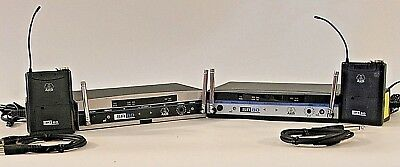 2 x AKG SR 80 Radio Microphone Receivers &  PT 80 Body Pack Transmitters