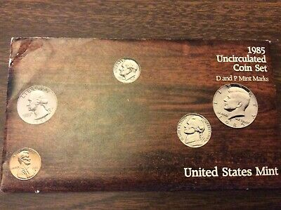 1985 P & D US Uncirculated Mint Set 10 Coins in Original Mint Package