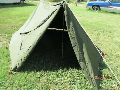 Military Shelter Half 1/2 Pup Tent Vietnam Army W Poles Stakes Dated 1968 & MILITARY SHELTER HALF 1/2 Pup Tent Vietnam Army W Poles Stakes Dated ...