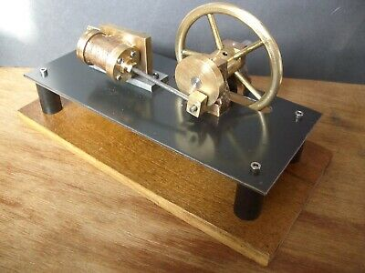 Horizontal Stationary Model Steam Engine. Oscillator. Brass & Steel. Live Steam.