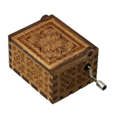 Hand Engraved Wooden Music Box Retro Carved Musical Box for Gifts