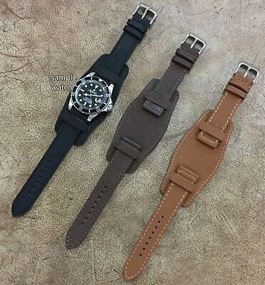 Size 18/20/22mm Emboss Pattern Genuine Cow Leather Bund Watch Strap Band #094D