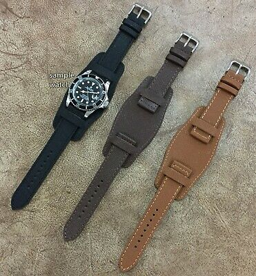 Size 18/20/22mm Vintage Military Style Cow Leather Bund Watch Strap Band #094D