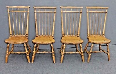 Set Four Vintage Windsor French Country Dining Room Chairs Colonial Farmhouse