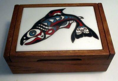 Large Oak Dresser Box With Native American Enamel Image On The Lid