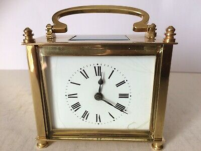 Antique French Carriage Clock in Original Case With Key In Working Order VGC