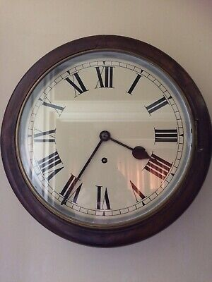 "Antique 15"" Mahogany Railway Station School Round Wall Clock Timepiece W & H Sch"