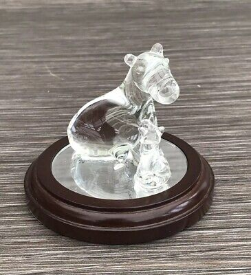 A Mothers Love Hand Blown Glass Hippo & Calf Limited Edition Figurine - Boxed