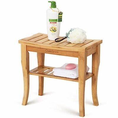 """OasisSpace Bamboo Shower Bench, 19"""" Waterproof Shower Chair with Storage Shelf,"""