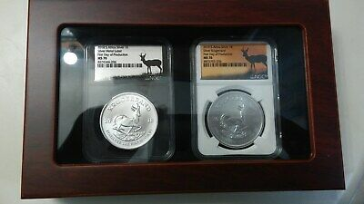 2018 & 2019 1Oz .999 Silver Krugerrand Ngc Fdp - First Day Production - Top Pop