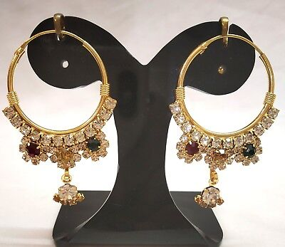 India Traditional Ethnic Bollywood Gold plated Indian Stone Earrings Drop/Dangle