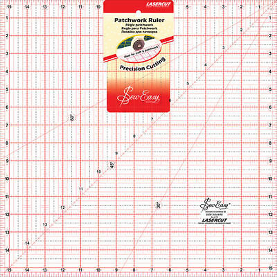 "SEW EASY 15½ SQUARE TEMPLATE RULER - LARGE ACRYLIC - 5.5"" x 15.5"" - PATCHWORK"