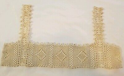 Antique 1900s Victorian Edwardian Camisole Top Piece Hand Crochet Lace Trimming