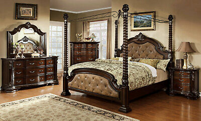 Old World Cherry Brown Bedroom Furniture Windham 5pcs King Poster Canopy Set