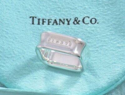 Tiffany & Co 1837 Sterling Silver Square Wide Band Ring Size 4.5 +Pouch RARE