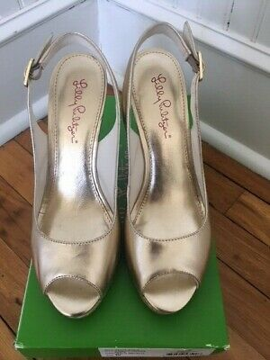 8bf69b500fb $198 LILLY PULITZER Kristin SIZE 8 Leather Espadrilles Sandals Wedge ...