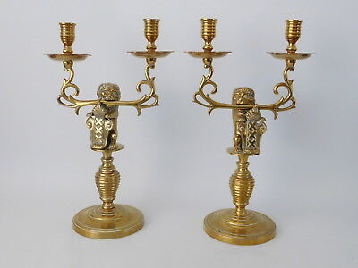 Pair Of Brass Twin Sconce Candelabra Lion Holding Shield Mounts ~ Free Uk Post