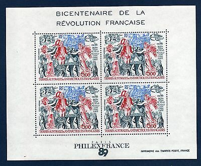 TAAF FSAT French Antarctic 1989 Bicentenaire Revolution Sheet  MNH **