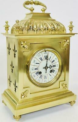 Stunning Antique French 8 Day Pierced Bronze Ormolu Ornate Cube Bracket Clock