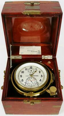 Rare Vintage 2 Day Russian Single Fusee Boxed Marine Chronometer In Travel Box