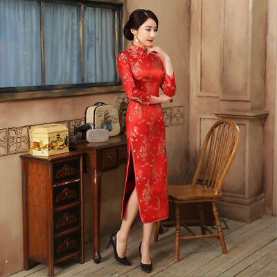 Sexy Womens Red Silk Chinese Slim Chinese Floral Dress Long Cheongsam Size