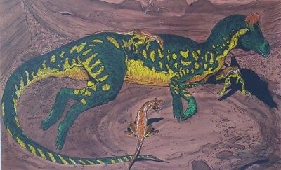 Richard Delgado Dinosaur Lithograph Cryolophosaurus Limited Edition Signed 1996