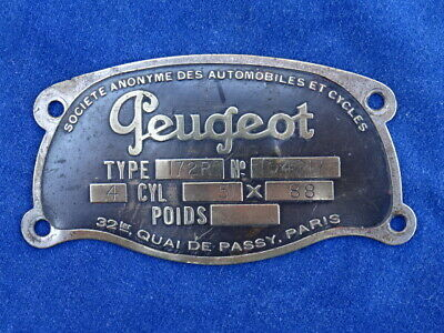 PLAQUE SIGNALETIQUE / Identification plate - PEUGEOT 172R 1925 - RARE+++ !