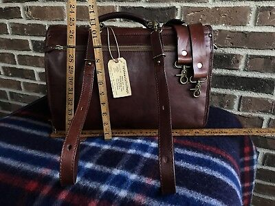 RARE VINTAGE 1980's ITALIAN GLOVE LEATHER MACBOOK BRIEFCASE BACKPACK BAG R$1298