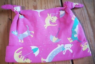 New Joules baby girl hat age 6-9 months bright pink with cat and dog print