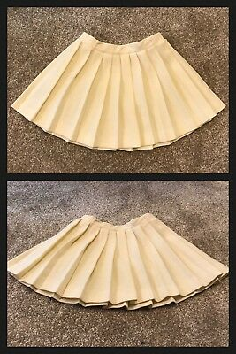 1960s Pleated Skater Skirt AILEEN Full Twirl Ivory Polyester VINTAGE Girls Sz 5