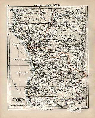 1900 Victorian Map ~ Central Africa Showing European Possessions