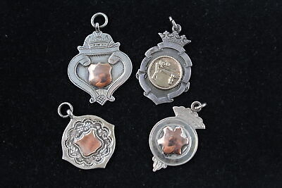 4 x True Vintage .925 Sterling Silver FOBS w/ Gold Detailing (25g)